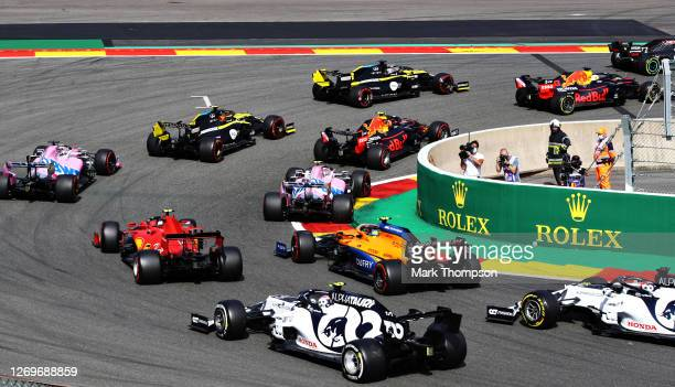 Pierre Gasly of France driving the Scuderia AlphaTauri AT01 Honda is pictured rounding turn one at the start during the F1 Grand Prix of Belgium at...