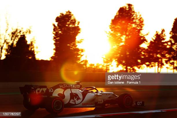 Pierre Gasly of France driving the Scuderia AlphaTauri AT01 Honda on track during day three of F1 Winter Testing at Circuit de BarcelonaCatalunya on...