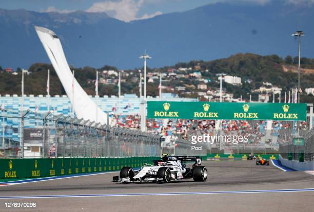Pierre Gasly of France driving the Scuderia AlphaTauri AT01 Honda on track during the F1 Grand Prix of Russia at Sochi Autodrom on September 27 2020...