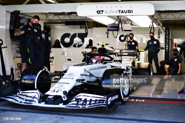 Pierre Gasly of France driving the Scuderia AlphaTauri AT01 Honda leaves the garage during final practice ahead of the F1 Grand Prix of Portugal. His...