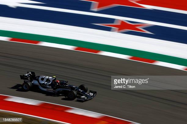 Pierre Gasly of France driving the Scuderia AlphaTauri AT02 Honda during final practice ahead of the F1 Grand Prix of USA at Circuit of The Americas...