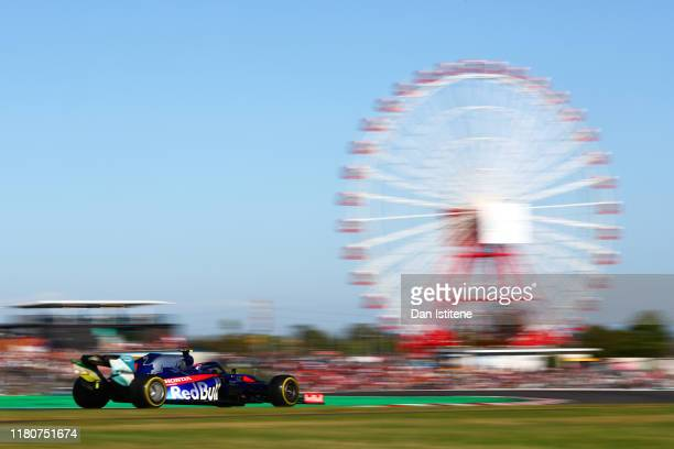 Pierre Gasly of France driving the Scuderia Toro Rosso STR14 Honda on track during the F1 Grand Prix of Japan at Suzuka Circuit on October 13 2019 in...