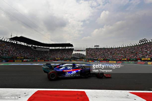 Pierre Gasly of France driving the Scuderia Toro Rosso STR14 Honda on track during qualifying for the F1 Grand Prix of Mexico at Autodromo Hermanos...