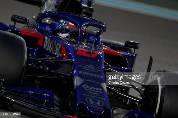 Pierre Gasly of France driving the Scuderia Toro Rosso STR14 Honda on track during the F1 Grand Prix of Abu Dhabi at Yas Marina Circuit on December...