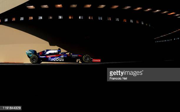 Pierre Gasly of France driving the Scuderia Toro Rosso STR14 Honda during day two of F1 End of Season Testing in Abu Dhabi at Yas Marina Circuit on...