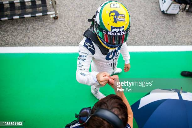 Pierre Gasly of Scuderia AlphaTauri and France during the F1 Grand Prix of Emilia Romagna at Autodromo Enzo e Dino Ferrari on November 01, 2020 in...