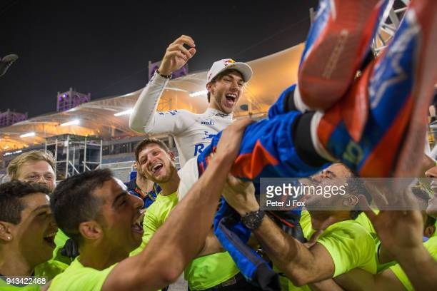 Pierre Gasly of Scuderia Toro Rosso and France celebrates finishing in 4th position during the Bahrain Formula One Grand Prix at Bahrain...