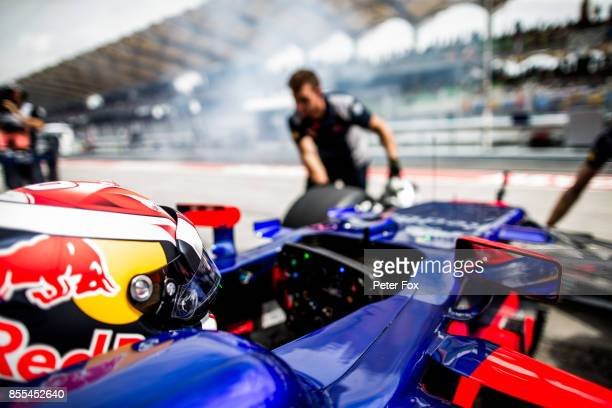 Pierre Gasly of Scuderia Toro Rosso and France during practice for the Malaysia Formula One Grand Prix at Sepang Circuit on September 29 2017 in...