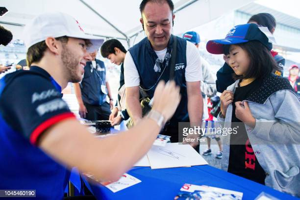 Pierre Gasly of Scuderia Toro Rosso and France during previews ahead of the Formula One Grand Prix of Japan at Suzuka Circuit on October 4 2018 in...
