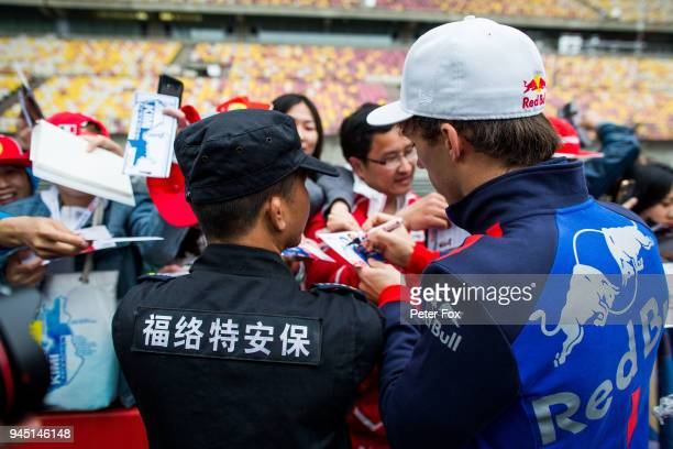 Pierre Gasly of Scuderia Toro Rosso and France during previews ahead of the Formula One Grand Prix of China at Shanghai International Circuit on...