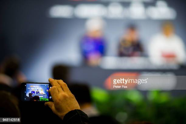 Pierre Gasly of Scuderia Toro Rosso and France during the drivers press conference with Max Verstappen of Red Bull Racing and The Netherlands and...