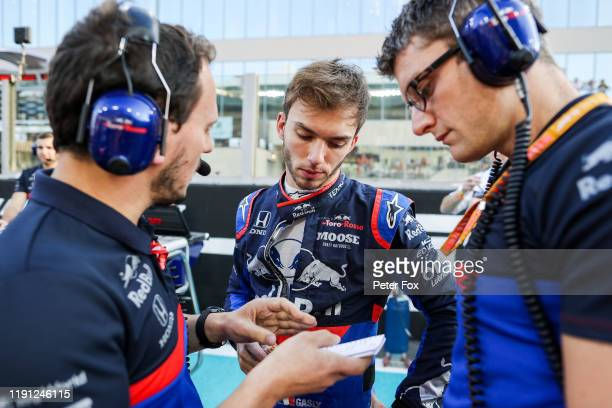 Pierre Gasly of Scuderia Toro Rosso and France during the F1 Grand Prix of Abu Dhabi at Yas Marina Circuit on December 01, 2019 in Abu Dhabi, United...