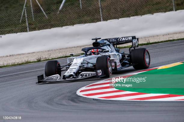 Pierre Gasly participates in the tests for the new season of the Formula One Grand Prix at the Circuit de Catalunya in Montmelo