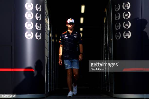 Pierre Gasly walks out of the Red Bull Racing garage after practice for the European Formula One Grand Prix at Baku City Circuit on June 23 2017 in...