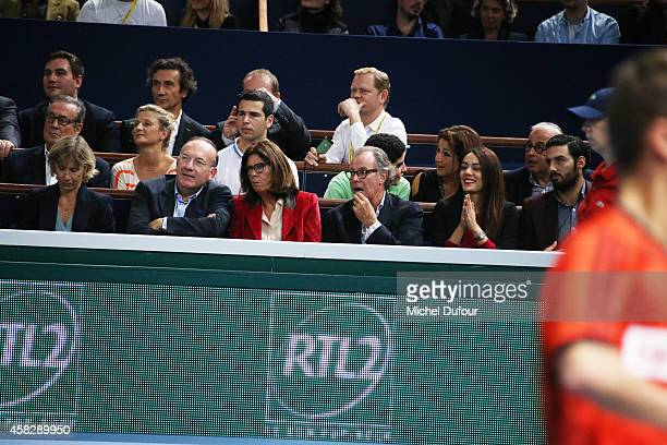 Pierre Gattaz Beatrice Leeb Michel Leeb and Sofia Essaidi attend the BNP Paribas Masters Day Seven at Palais Omnisports de Bercy on November 2 2014...