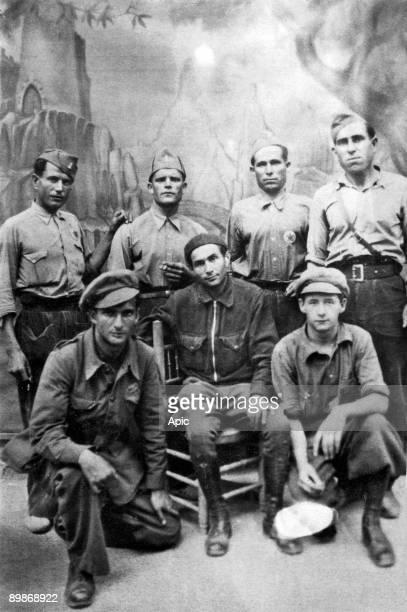 Pierre Georges aka Colonel Fabien in july 1937 in Spain with members of International Brigades