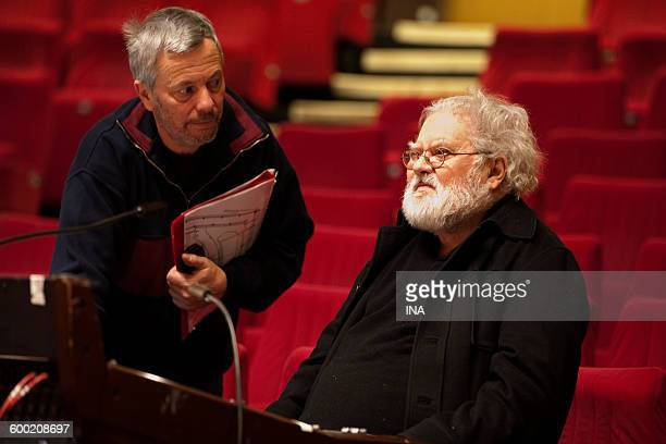 Pierre Henry with his sound engineer Etienne Bultingaire during the rehearsal of a concert of the musical season Multitelephonies of the GRM