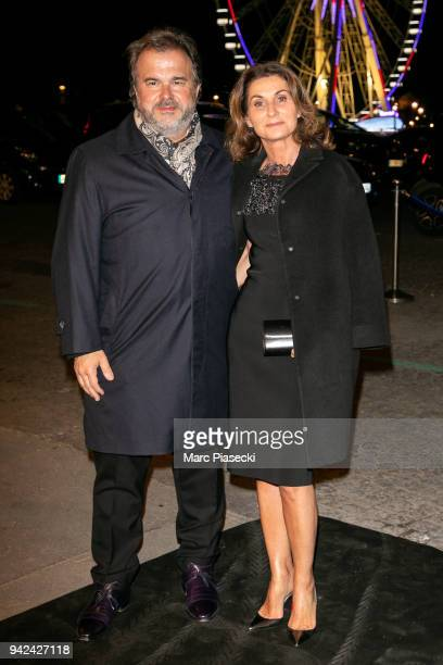 Pierre Herme and wife Valerie Franceschi arrive to attend the 'Madame Figaro' dinner at Automobile Club de France on April 5 2018 in Paris France