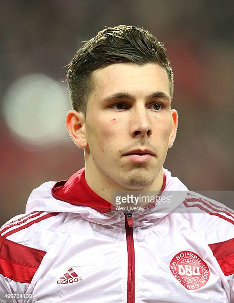 Pierre Hojbjerg of Denmark stands for the national anthem prior to the UEFA EURO 2016 Qualifier PlayOff Second Leg match between Denmark and Sweden...