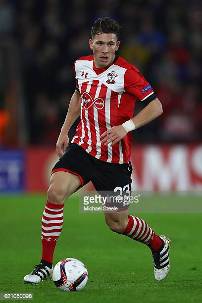 Pierre Hojbjerg of Southampton during the UEFA Europa League match between Southampton FC and FC Internazionale Milano at St Mary's Stadium on...