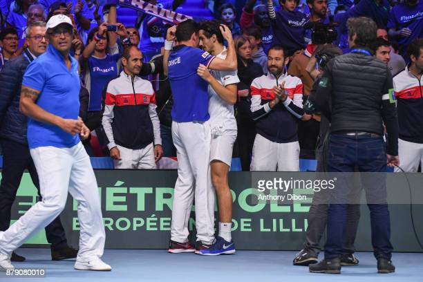 Pierre Hugues Herbert and Nicolas Mahut celebrates the victory during the day 2 of the Final of the Davis Cup match between France and Belgium at...