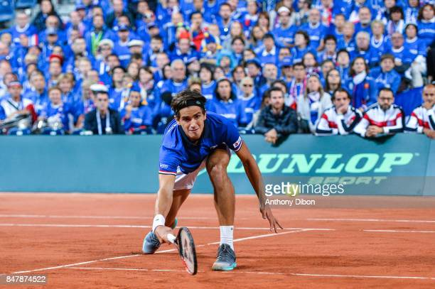 Pierre Hugues Herbert of France during the day 2 of the Semifinals of the Davis Cup between France and Serbia at Stade Pierre Mauroy on September 16...
