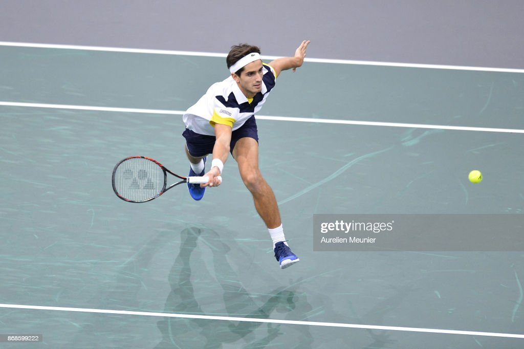 Pierre Hugues Herbert of France of France plays a Forehand in the men's single first round match against Feliciano Lopez of Spain during day two of the Rolex Paris Masters at AccorHotels Aren on October 31, 2017 in Paris, France.