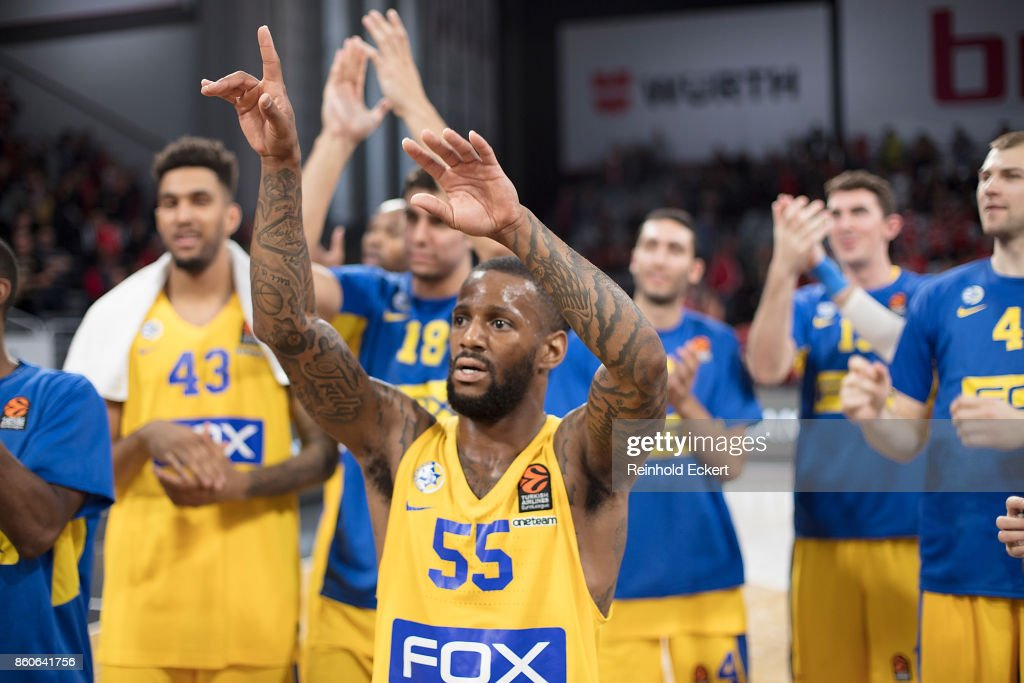 Pierre Jackson, #55 of Maccabi Fox Tel Aviv at the end of the 2017/2018 Turkish Airlines EuroLeague Regular Season Round 1 game between Brose Bamberg v Maccabi Fox Tel Aviv at Brose Arena on October 12, 2017 in Bamberg, Germany.