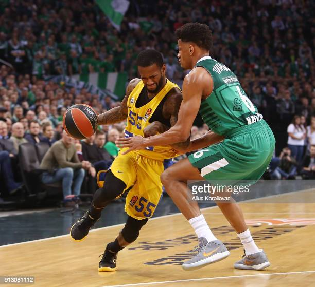Pierre Jackson #55 of Maccabi Fox Tel Aviv competes with Axel Toupane #6 of Zalgiris Kaunas in action during the 2017/2018 Turkish Airlines...