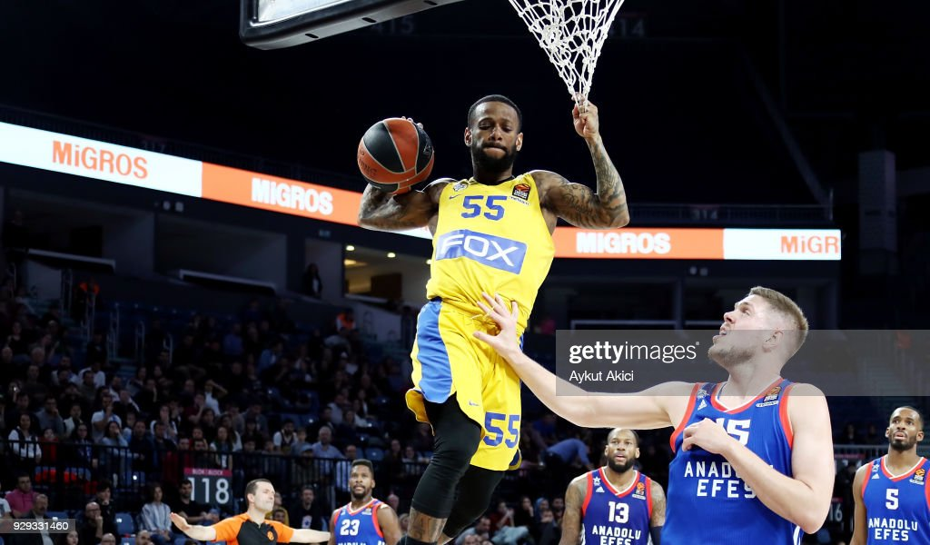 Pierre Jackson, #55 of Maccabi Fox Tel Aviv in action during the 2017/2018 Turkish Airlines EuroLeague Regular Season Round 25 game between Anadolu Efes Istanbul and Maccabi Fox Tel Aviv at Sinan Erdem Dome on March 8, 2018 in Istanbul, Turkey.