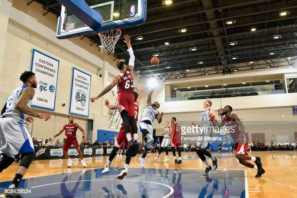 Pierre Jackson of the Detroit Pistons shoots the game winning shot during the game against the Miami Heat during the 2017 Orlando Summer League on...