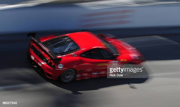 Pierre Kaffer and Jaime Melo drive the Risi Competizione Ferrari 430 GT during practice for the Tequila Patron American Le Mans Series at Long Beach...