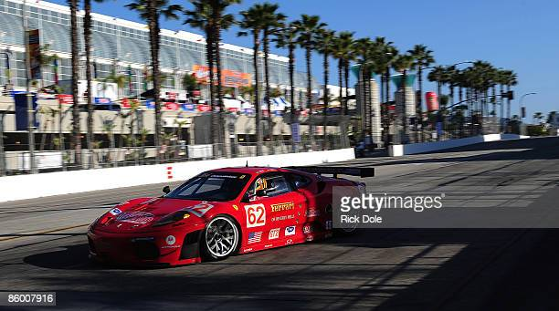 Pierre Kaffer drives the Risi Competizione Ferrari 430 GT during practice for the Tequila Patron American Le Mans Series at Long Beach on April 16...