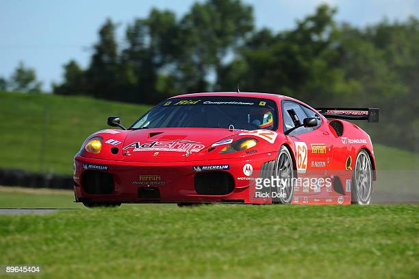 Pierre Kaffer of Germany driving the Risi Competizione Ferrari 430 GT during testing for the American Le Mans Series Acura Sports Car Challenge at...