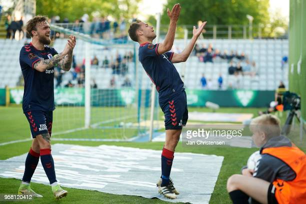 Pierre Kanstrup of AGF Arhus and Niklas Backman of AGF Arhus celebrate after the 23 goal from Jakob Ankersen during the Danish Alka Superliga match...