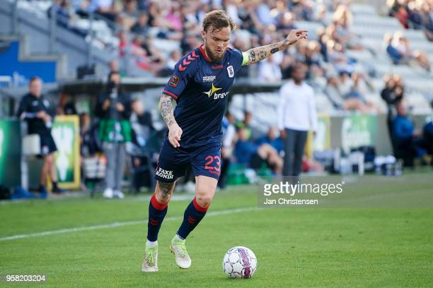 Pierre Kanstrup of AGF Arhus in action during the Danish Alka Superliga match between OB Odense and AGF Arhus at EWII Park on May 13 2018 in Odense...