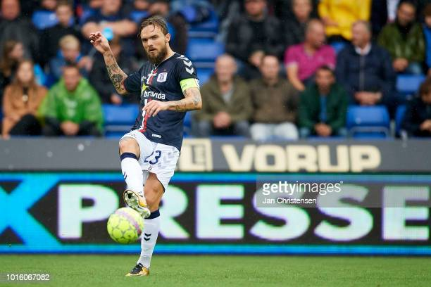 Pierre Kanstrup of AGF Arhus in action during the Danish Superliga match between Randers FC and AGF Arhus at BioNutria Park Randers on August 12 2018...