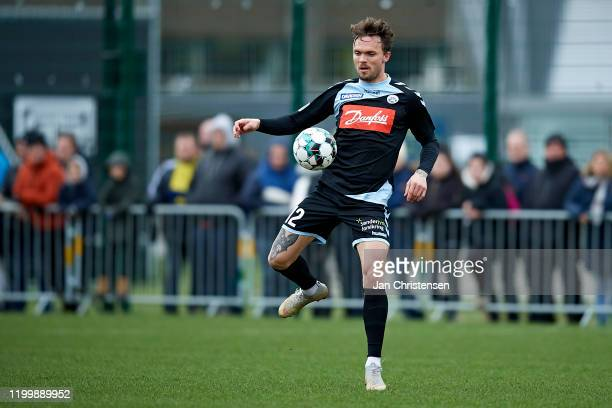 Pierre Kanstrup of SonderjyskE in action during the testmatch between Brondby IF and SonderjyskE at Brondby Stadion on February 10, 2020 in Brondby,...