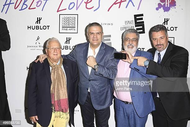 Pierre Keller, Hublot CEO, Ricardo Guadalupe, Carlos Cruz Delgado, and Rick De La Croix attend the Hublot Art Basel kick off reception unveiling...