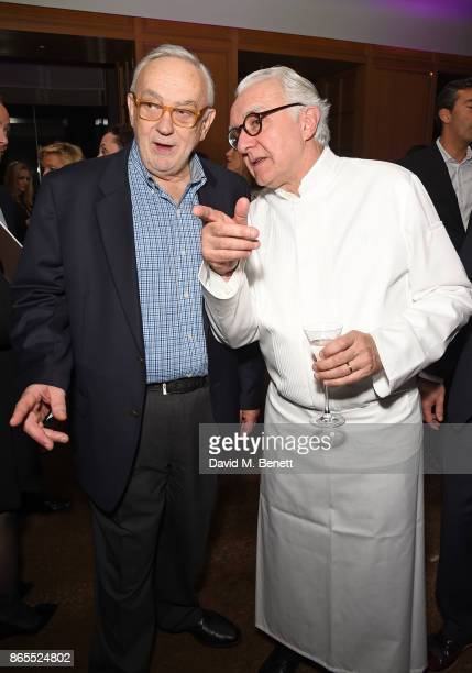 Pierre Koffmann and Alain Ducasse attend 10th anniversary of Alain Ducasse at The Dorchester on October 23 2017 in London England