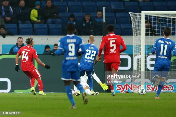 Pierre Kunde Malong of 1. FSV Mainz 05 scores his team's third goal during the Bundesliga match between TSG 1899 Hoffenheim and 1. FSV Mainz 05 at...