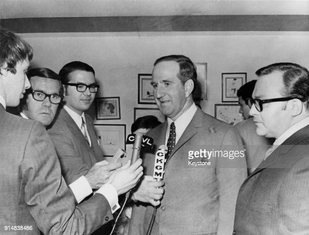 Pierre Laporte the Deputy Premier and Minister of Labour of Quebec talks to reporters 1970 He was kidnapped and murdered in October 1970