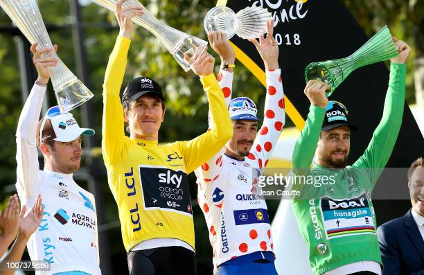 Pierre Latour of France and AG2R La Mondiale, winner of white jersey of best young rider, winner of the Tour yellow jersey Geraint Thomas of Great...