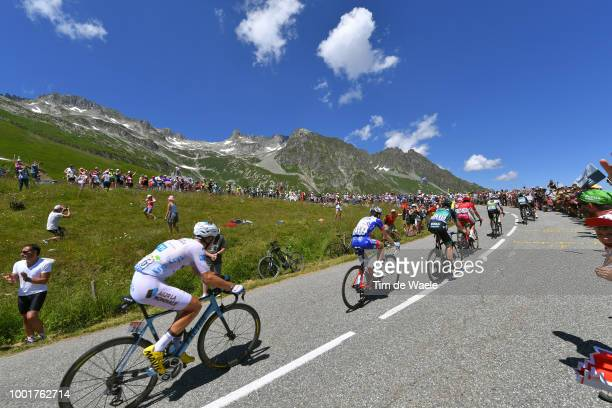 Pierre Latour of France and Team AG2R La Mondiale White Best Young Rider Jersey / Col De La Madeleine / Landscape / Mountains / Snow / / Peloton /...