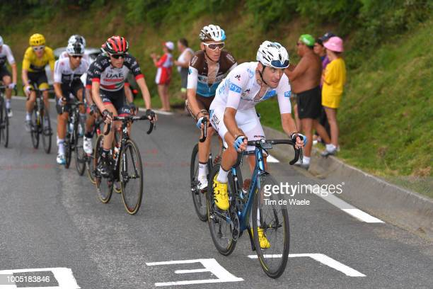 Pierre Latour of France and Team AG2R La Mondiale White Best Young Rider Jersey / Romain Bardet of France and Team AG2R La Mondiale / Daniel Martin...