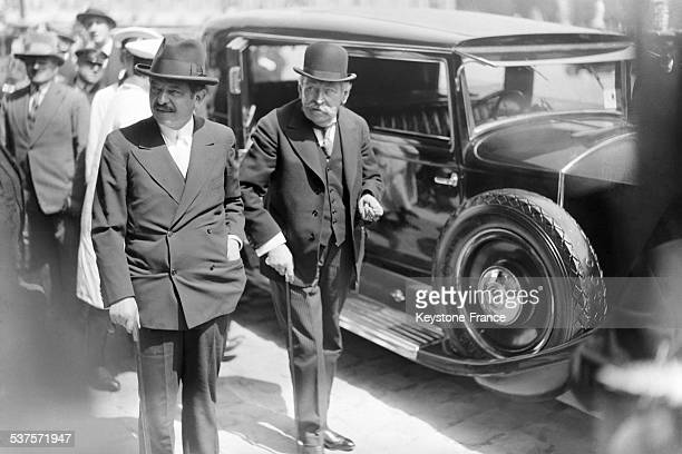 Pierre Laval and Aristide Briand arrive at Versailles for the presidential elections on May 13 1931 in Versailles France