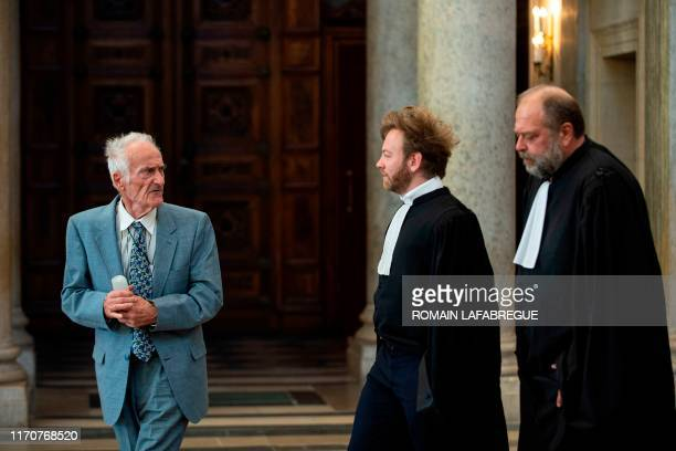 Pierre Le Guennec leaves Lyon's courthouse with his lawyers Eric DupondMoretti and Antoine Vey on September 24 2019 after a hearing on his appeal...