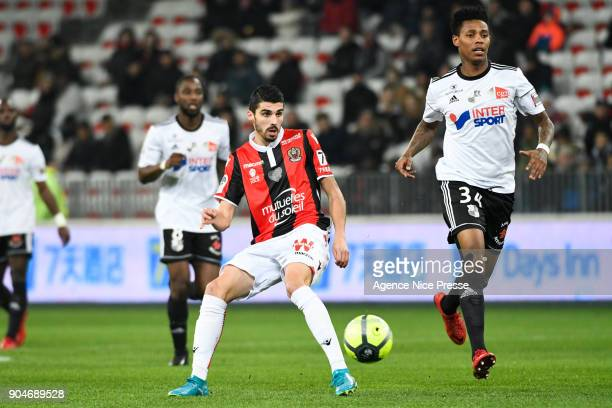 Pierre Lees Melou of Nice and Bongani Zungu of Amiens during the Ligue 1 match between Nice and Amiens at Allianz Riviera Stadium on January 13 2018...