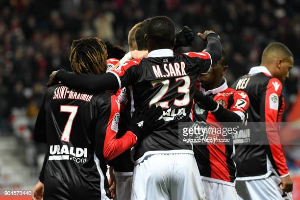 Pierre Lees Melou of Nice celebrates his goal with teammates during the Ligue 1 match between Nice and Amiens at Allianz Riviera Stadium on January...