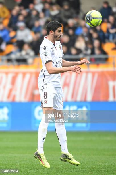 Pierre Lees Melou of Nice during the Ligue 1 match between Troyes and OGC Nice on April 1, 2018 in Troyes, France.